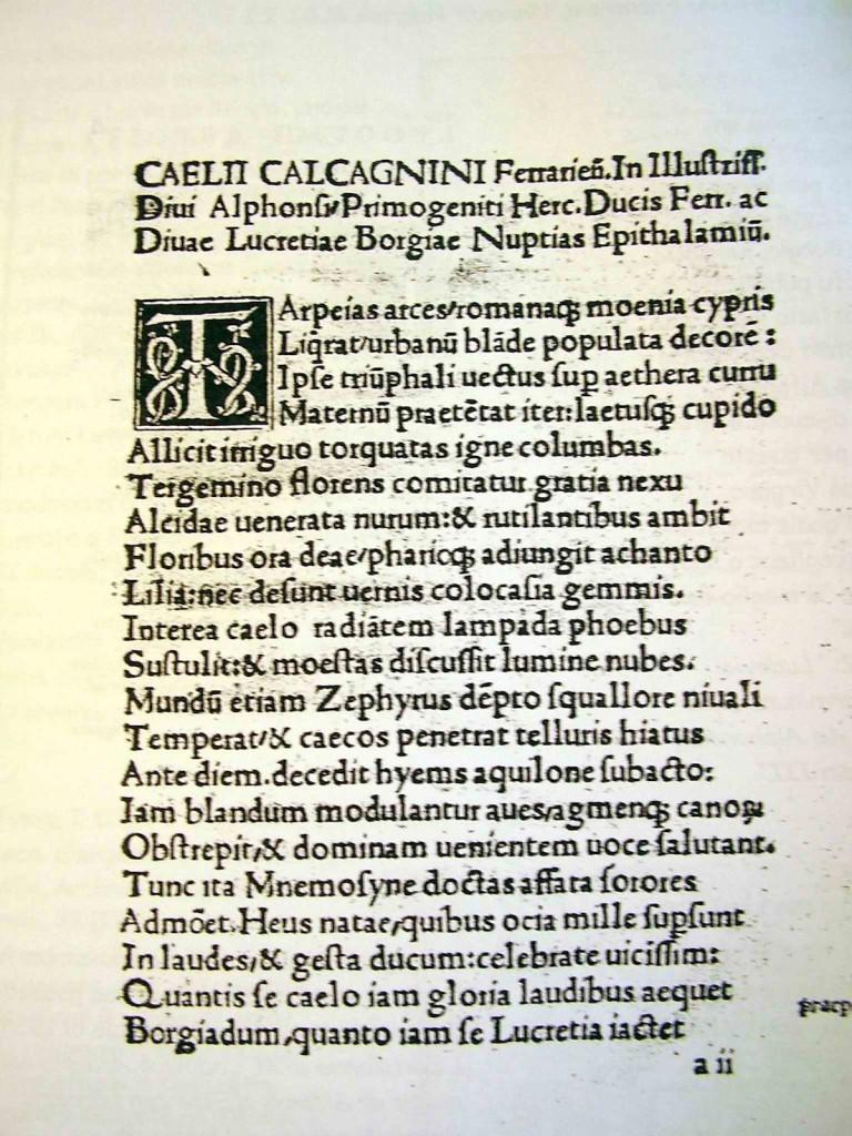 Calcagnini, Epitalami a les noces d'Alfons d'Este i Lucrècia Borja.