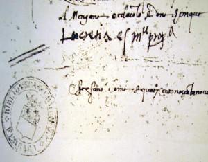 """Firma autògrafa de Lucrècia: """"Lucrecia estense manu propia""""."""