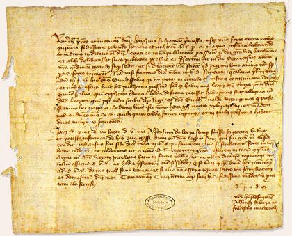 Alfons de Borja i Francesc Martorell informen els cardenals residents a Castelló de la Plana de l'obertura de processos contra el prelats cismàtics de Peníscola. Tortosa, 27 de maig de 1418 (Barcelona, Arxiu de la Corona d'Aragó)