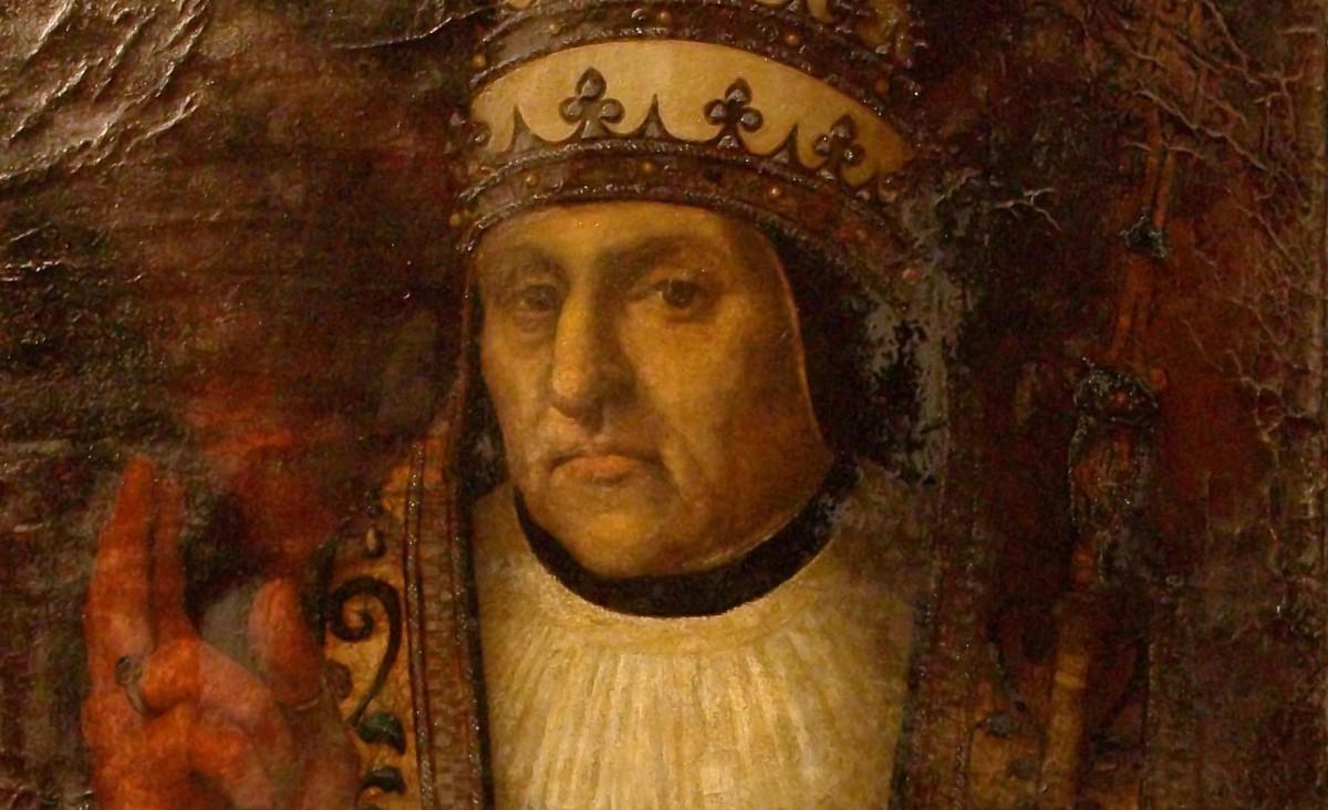 Retrat d'Alfons de Borja com a papa Calixt III, obra de Joan de Joanes (1523-1479) de la sèrie de prelats valencians de la catedral de València.
