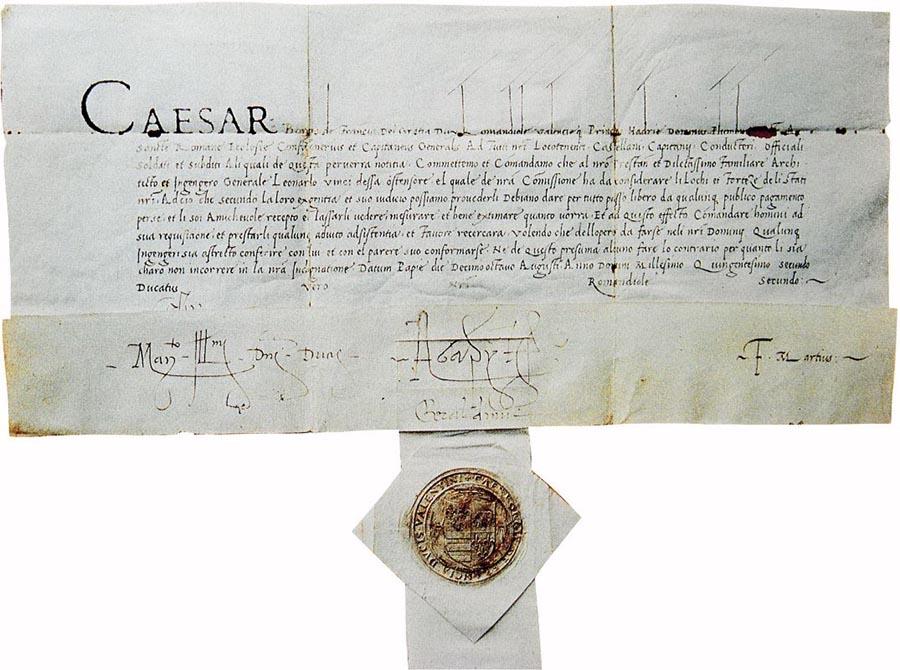 Salconduit de Cèsar a favor de Leonardo da Vinci (Pavia, 18 d'agost de 1502).