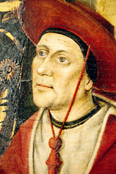 El cardenal Alfons de Borja. Detall del retaule de santa Anna, de Pere Reixac. Col·legiata de Xàtiva, 1452