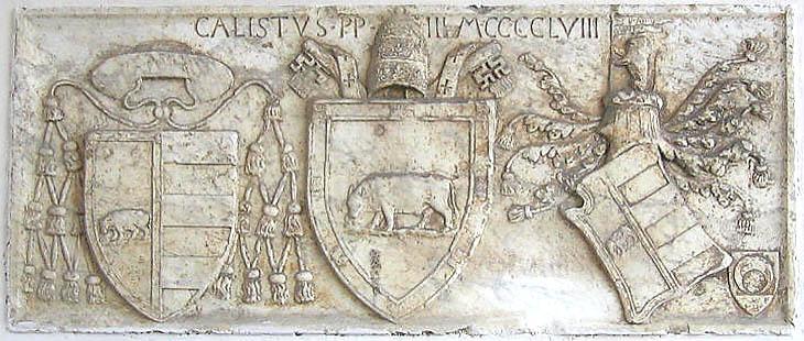Escut de Calixt III, flanquejat pels de Roderic i Pere Lluís de Borja, nebots seus. Roma, Pont de Milvio, 1458.