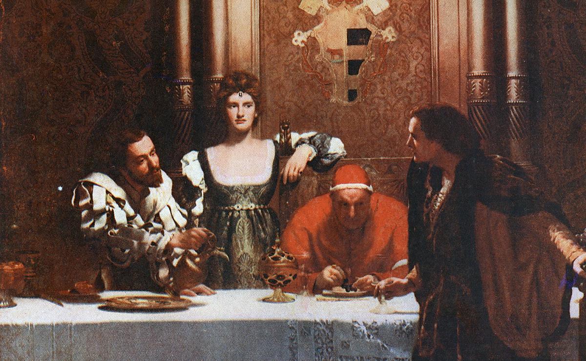 Una copa de vi amb Cèsar Boja, quadre de John Collier de 1893