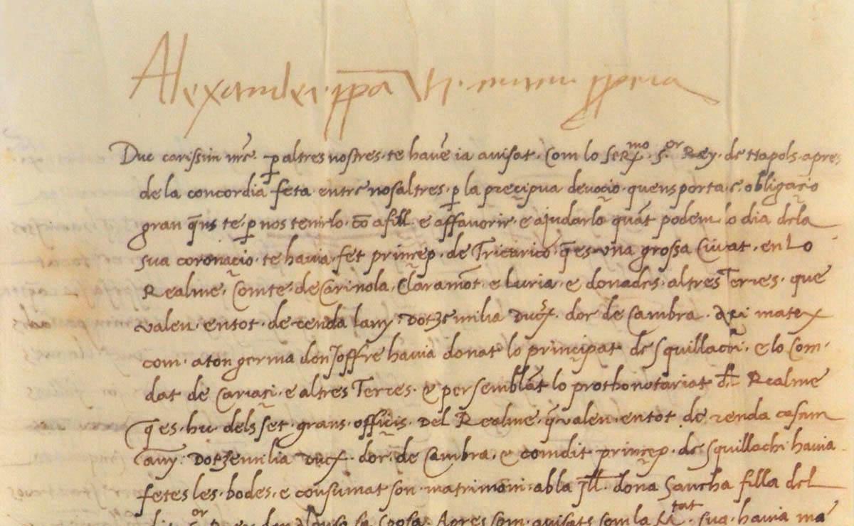 Carta d'Alexandre VI al seu fill Joan de Borja. Arxiu de la Catedral de València.