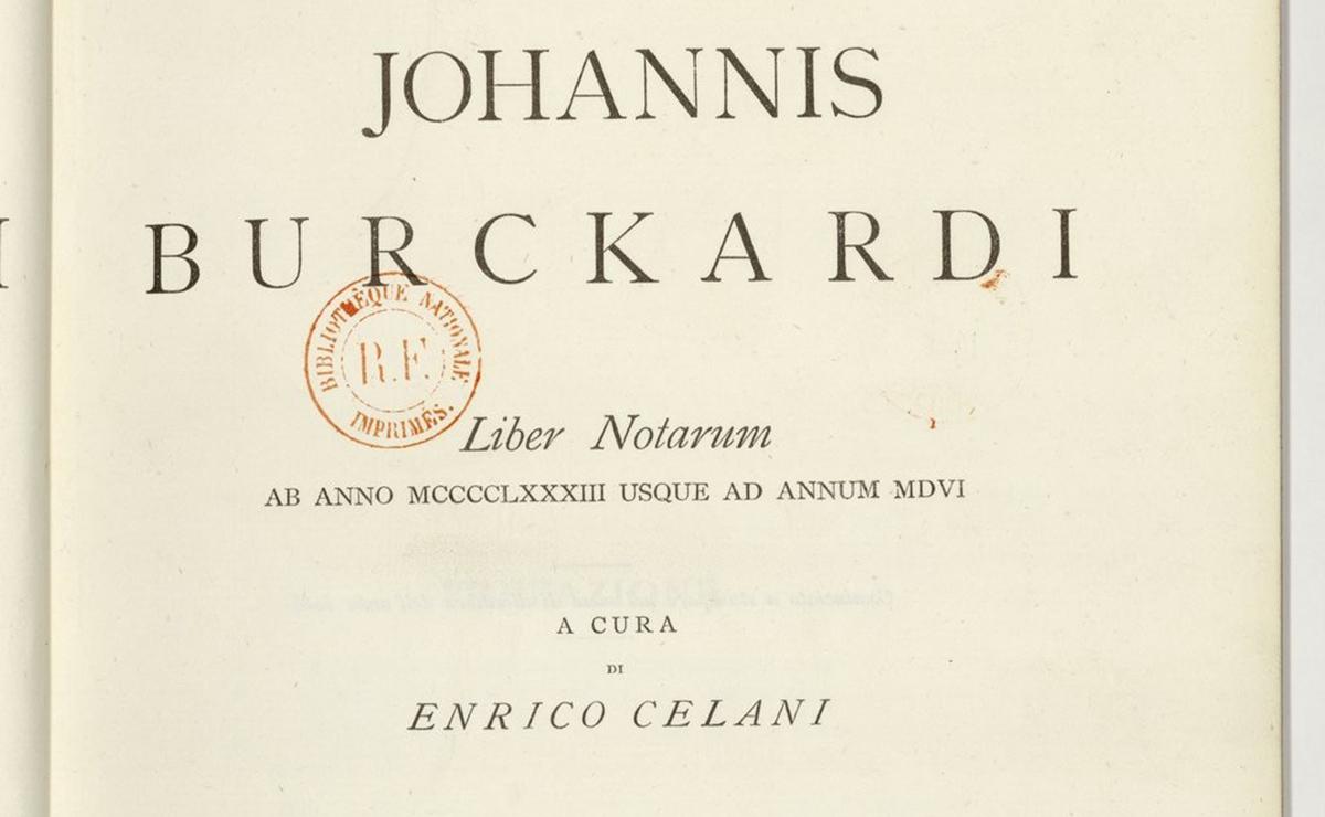 Exemplar del Liber Notarum de Johannes Burckard, editat per Celani.