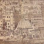 Ferrara a l'arribada de Lucrècia Borja. Vista des del sud. A primer terme el Po de Volano i els grans edificis.