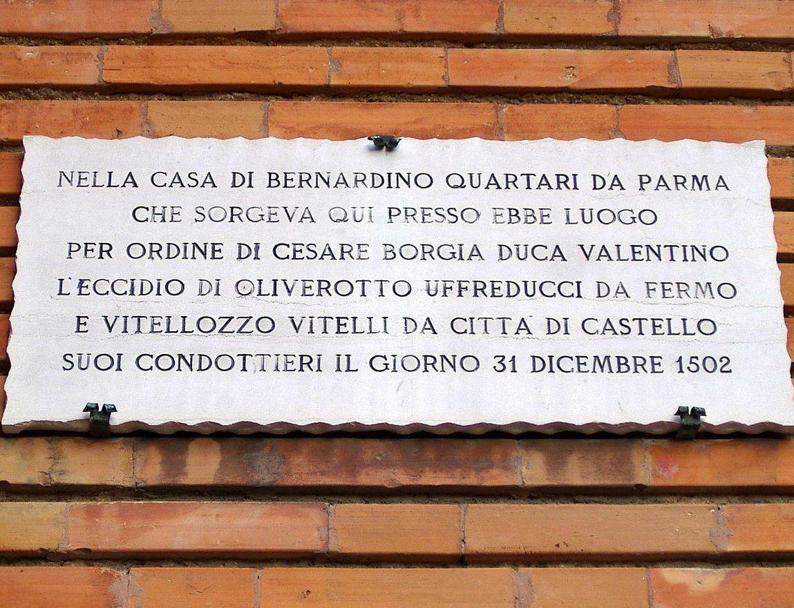 """Placa commemorativa del """"bellissimo inganno"""" de Senigallia."""