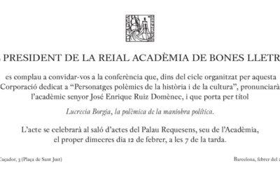 Conferència sobre Lucrècia Borja al Palau Requesens de Barcelona
