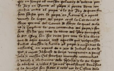 De Peníscola al bisbat de València: Alfons de Borja en una crònica catalana del segle XV